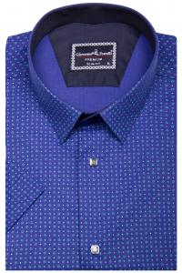 3dd78fec29695ab Фото Рубашка с коротким рукавом синяя в узор GIOVANNI FRATELLI артикул:  1407-2 Приталенные