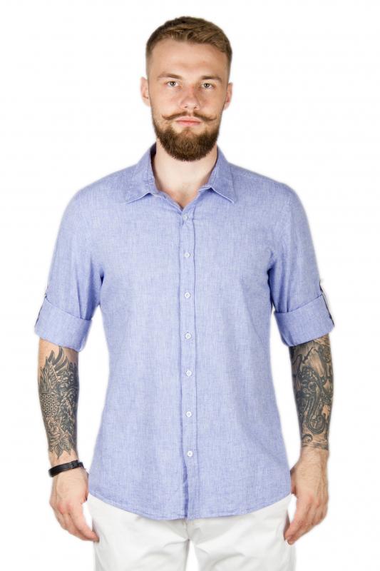 759d15e3a29 Рубашка голубая льняная SORBINO Приталенные купить онлайн ...