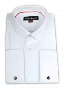 308f9f85133 Фото Рубашка белая тканевый узор Giovanni Fratelli артикул  0167 Под запонки