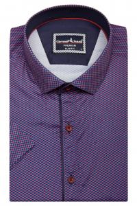 a451d3851a1 Фото Рубашка с коротким рукавом бордовая в узор GIOVANNI FRATELLI артикул   1503-23 Приталенные
