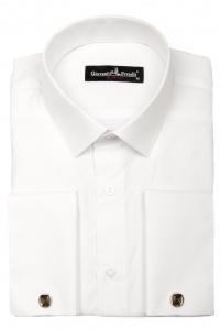 2a015661024 Фото Рубашка белая однотонная под запонки Giovanni Fratelli артикул   0408-0408 Под запонки