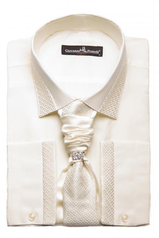 375fa48cb58f63b Фото товара Рубашка айвори с галстуком Giovanni Fratelli, артикул: 2017-10  Под запонки